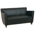 Leather Loveseat with Cherry Finished Feet