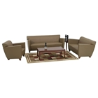 Contemporary Armchair, Loveseat, and Sofa Set in Taupe Leather
