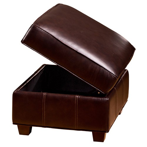 Marbella Contemporary Storage Ottoman - Chocolate Leather - OHF-420-06CGCHMB