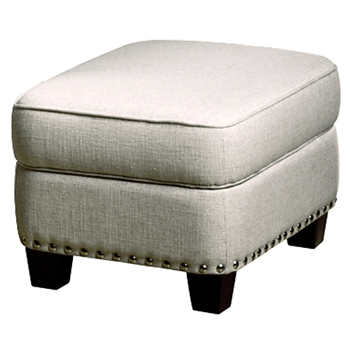 Bradford Storage Ottoman - Nail Heads, Brussels Linen Fabric