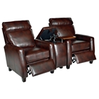 Florence 3 Piece Home Theater Seating - Royal Auburn Leather
