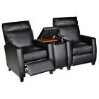 Florence 3 Piece Home Theater Seating - Royal Black Leather