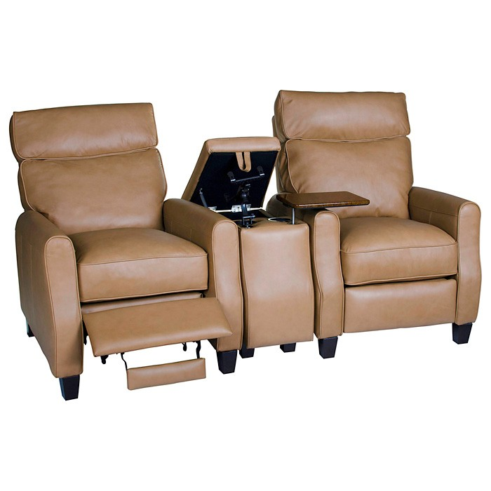 Venice 3 Piece Home Theater Seating - Baron Taupe Leather - OHF-8900-22BARTAP