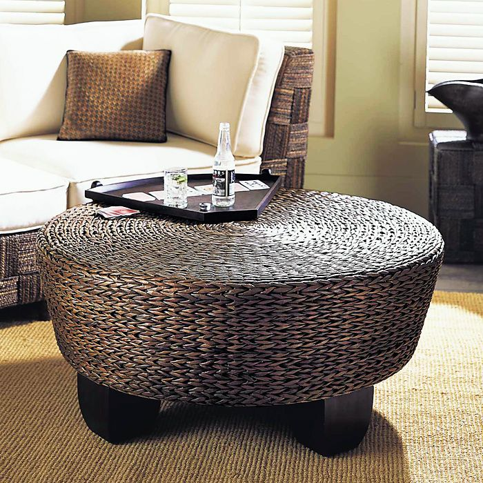 Hotel California Round Ottoman / Coffee Table - Abaca Weave - PAD-AO02