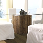 Square Dining Table - Bamboo Stick Bunch Base, Glass Top