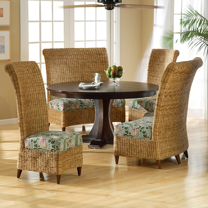 Bayside Dining Settee - Roll Back, Cushion, Abaca Weave - PAD-BYS23