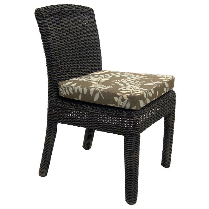 Outdoor Bay Harbor Wicker Dining Side Chair - Fabric Cushion