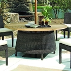 Outdoor Bay Harbor Dining Table - Teak Wood, Brown Wicker