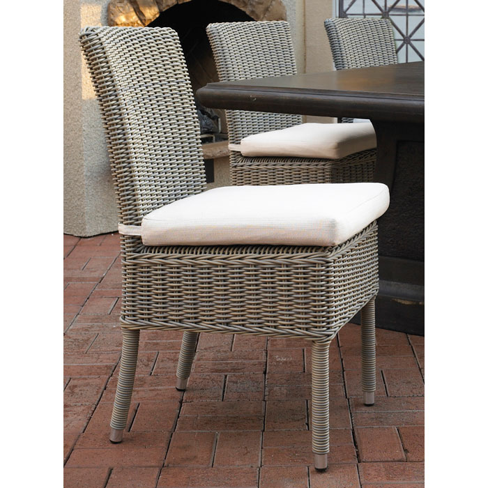 Outdoor Boca Dining Chair - White Fabric Cushion, Gray - PAD-OL-BOC12-ECO