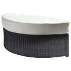 Outdoor Haven Half Moon Wicker Ottoman - Fabric Cushion