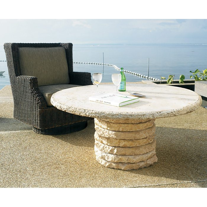 "Stone Stack 48"" Round Chat Table - PAD-OL-SSTTOP-48-OL-SST05BASE"