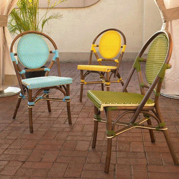 Paris Bistro Chair - Brown Rattan Frame, Yellow (Set of 2) - PAD-PBA12-YLW-S-2