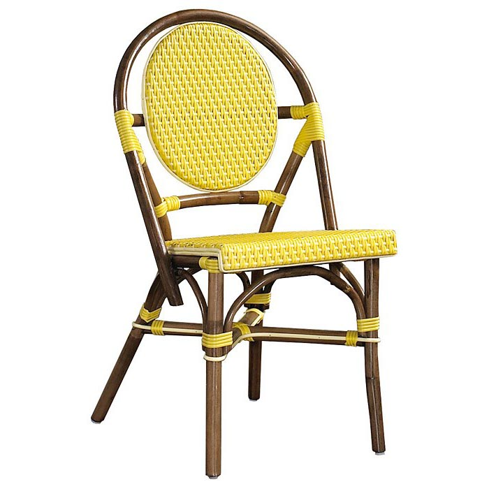 Paris Bistro Chair - Brown Rattan Frame, Yellow (Set of 2)
