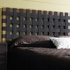 Sea Grass Open Weave Headboard - Black, Natural Teak Frame