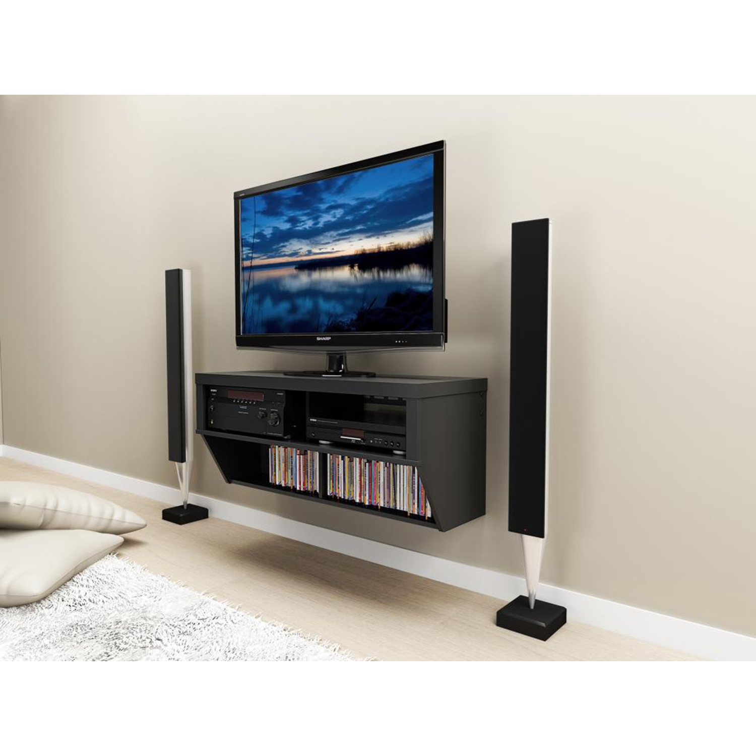 Series 9 Designer 42 Inch Wide Wall Mounted Audio Video - Black - PRE-BCAW-0507-1