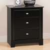 Kallisto 3-Drawer Nightstand in Black