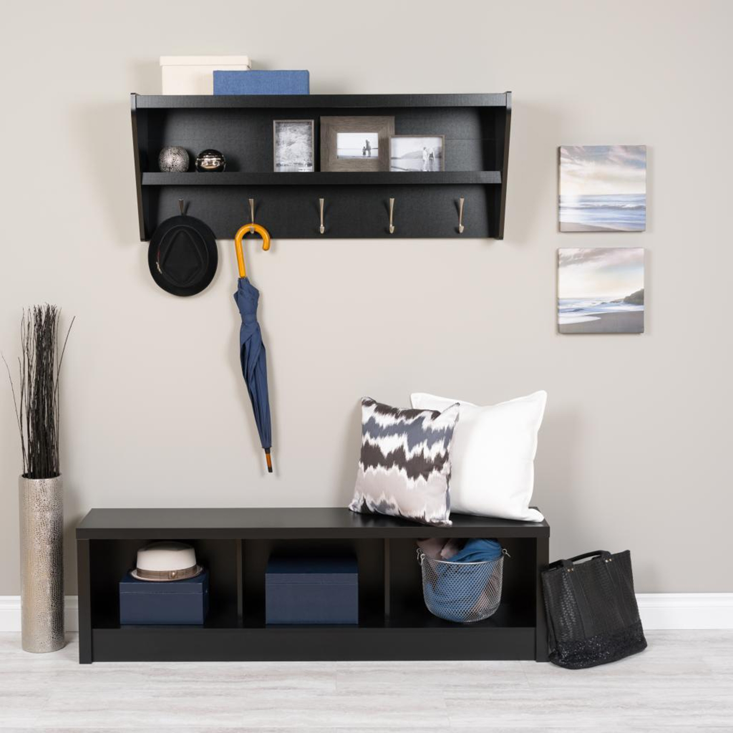 Floating Entryway Shelf and Coat Rack - Black - PRE-BUCW-0500-1
