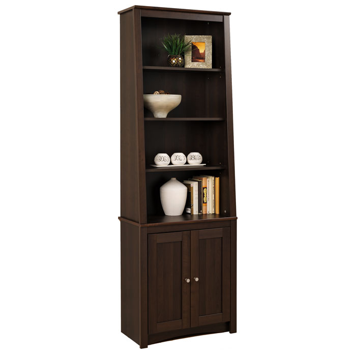 Indra Espresso Tall Slant-Back Bookcase with Doors
