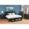 District King Bedroom Set with 2-Drawer Tall Nightstand - Washed Black
