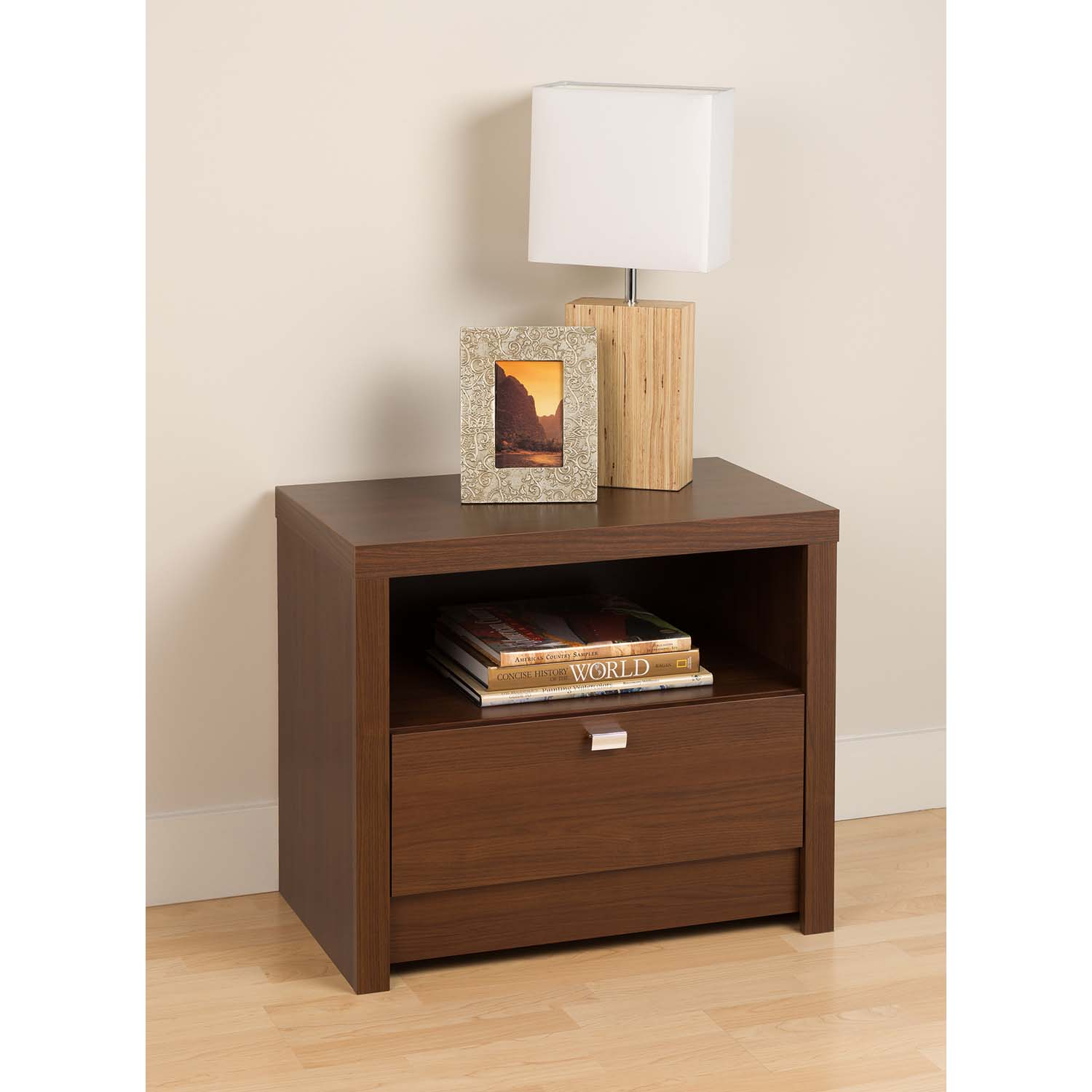 Series 9 Designer 1-Drawer Nightstand - Warm Cherry - PRE-LDNR-0510-1