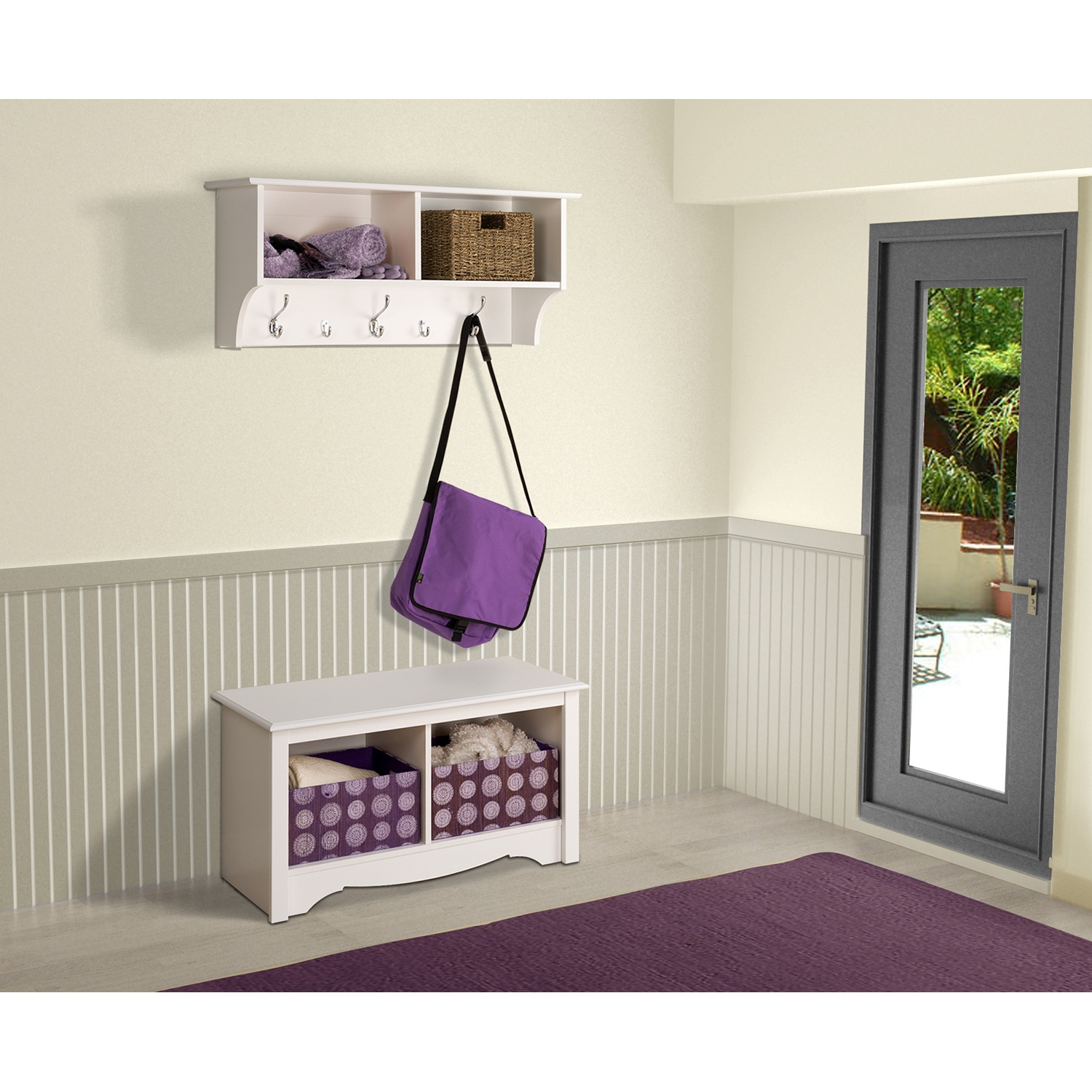 36 Inch Wide Hanging Entryway Shelf - White - PRE-WEC-3616