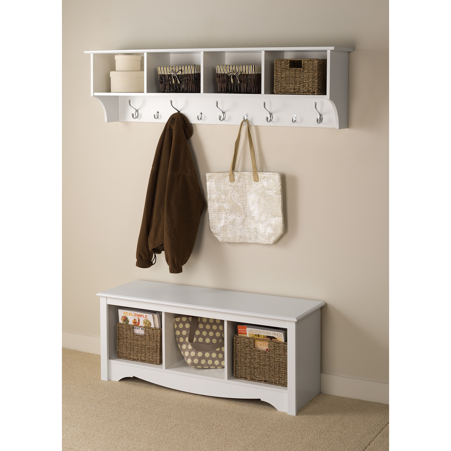 60 Inch Wide Hanging Entryway Shelf - White - PRE-WEC-6016