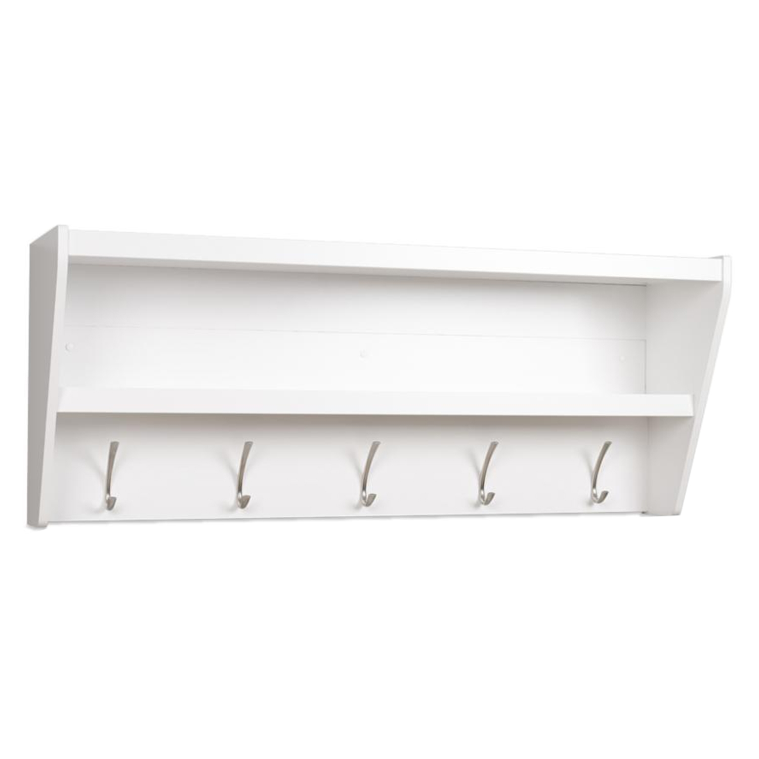 Floating Entryway Shelf and Coat Rack - White
