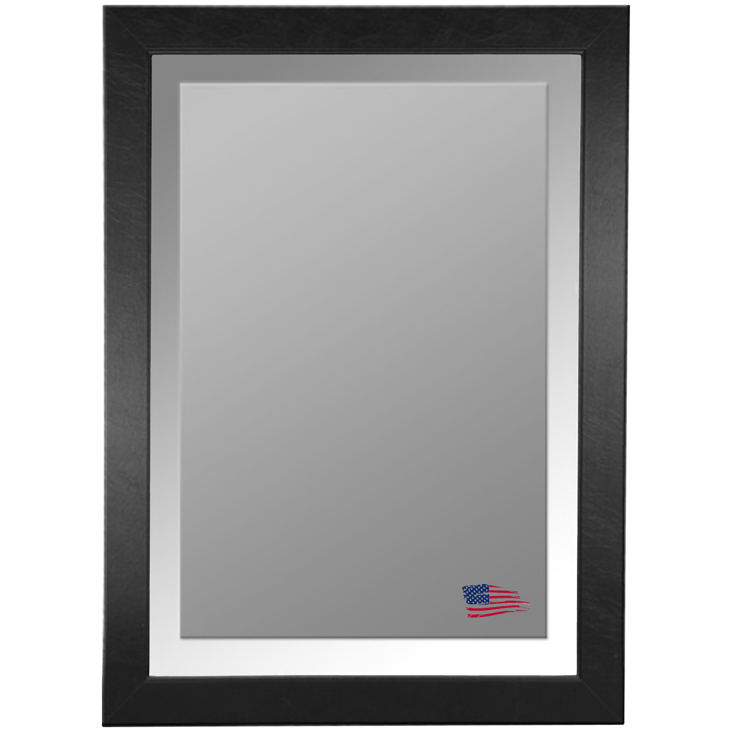 Wall Mirror - Black Leather Frame, Beveled Glass