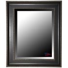 Wall Mirror - Black & Silver Caged Trim Frame, Beveled Glass