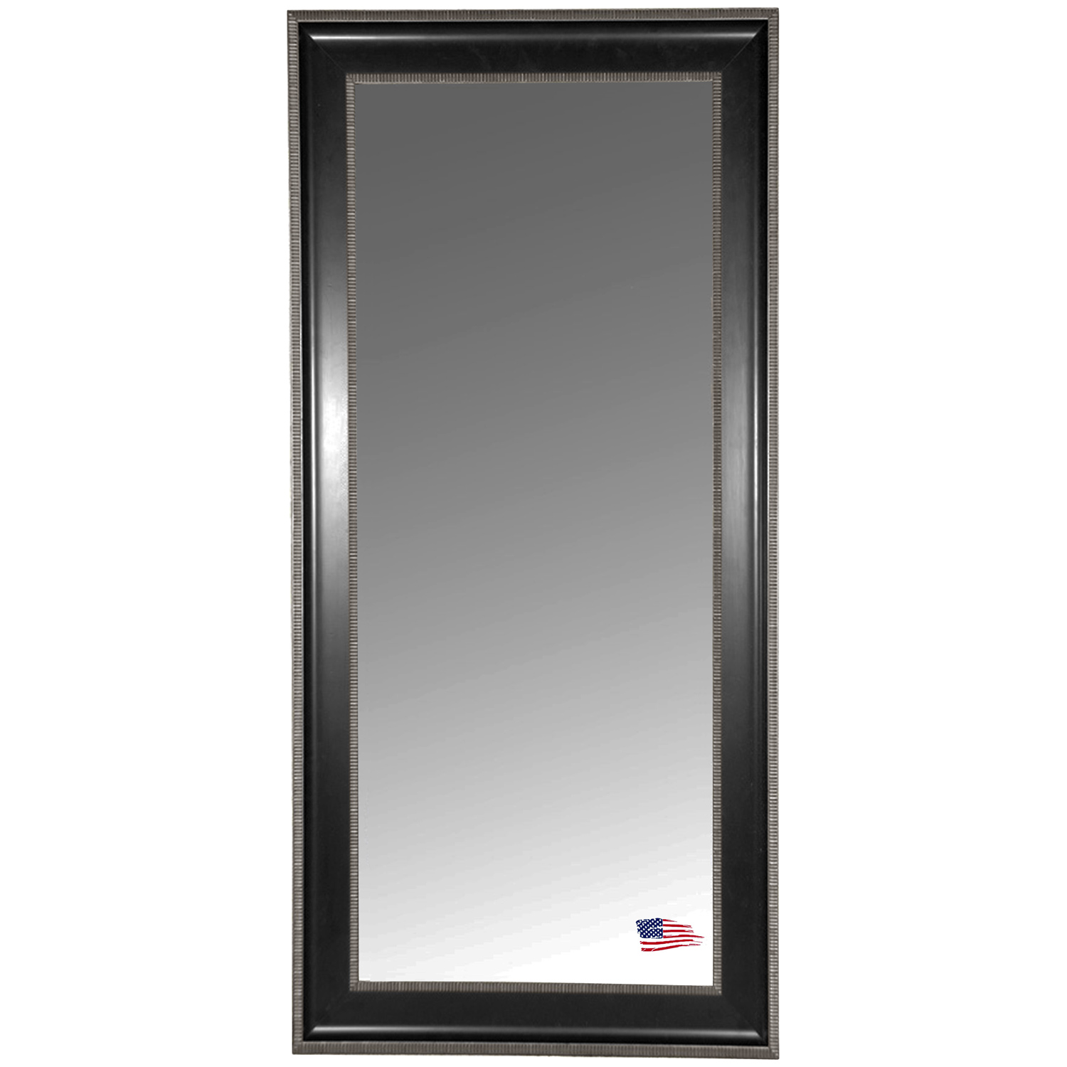 Floor Mirror - Black & Silver Caged Trim Frame