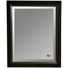 Hanging Mirror - Black Frame, Brown Wood Lining, Beveled Glass