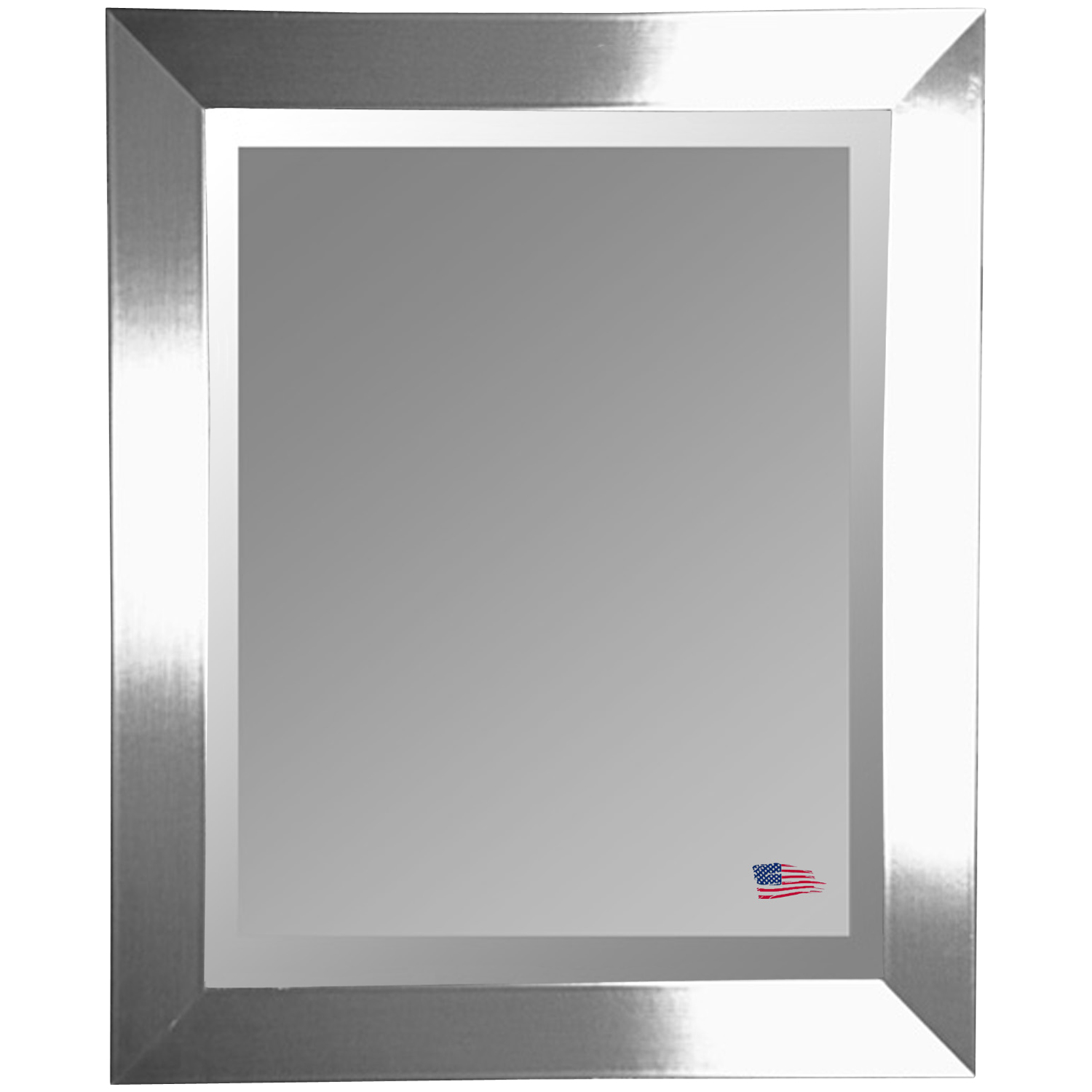 Contemporary Hanging Mirror - Thick Silver Frame, Beveled Glass - RAY-R003