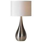 Alba Teardrop Table Lamp - Stainless Steel, White Linen Shade