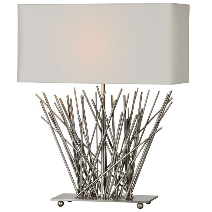 Hera Stick Table Lamp - Satin Nickel, Metal, Off-White Shade