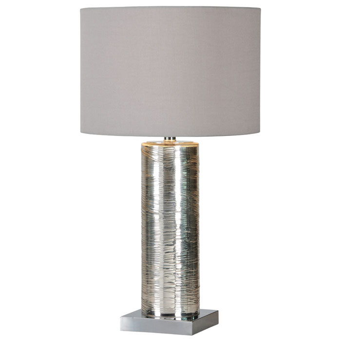 Amber Table Lamp - Cylindrical Glass, Chrome