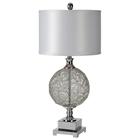 Jasmin Table Lamp - Chrome, Metal, Gray Silk Shade
