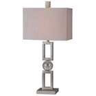 Davos Table Lamp - Silver Leaf, Metal, Crystal Ball Accent