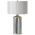 Rita Table Lamp - Silver Plated Glass, Ivory Silk Shade