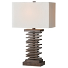 Cosma Table Lamp - Stacked Wood Base, Ivory Linen Shade