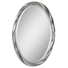 Wiltshire Oval Mirror - Beveled, Twisted Frame, Silver Leaf Finish