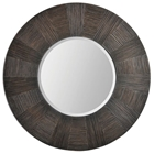 Delevan Round Wall Mirror - Beveled, Brown Frame