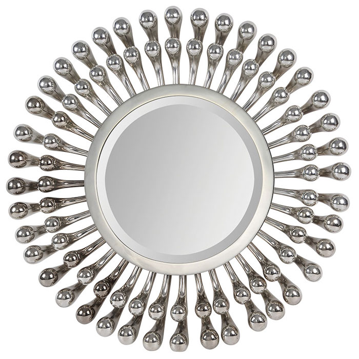 Evana Mirror - Beveled, Round, Silver Plated Metal Frame