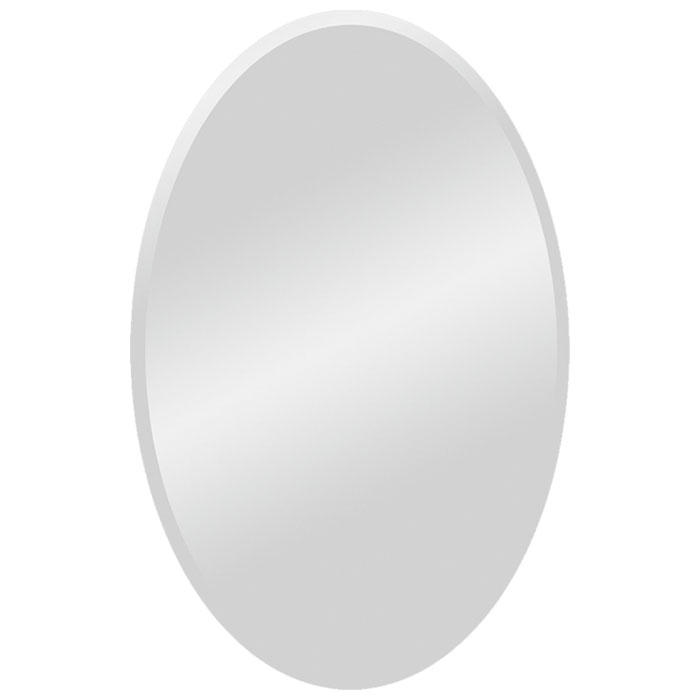 Large Oval Contemporary Mirror - Beveled, Frameless