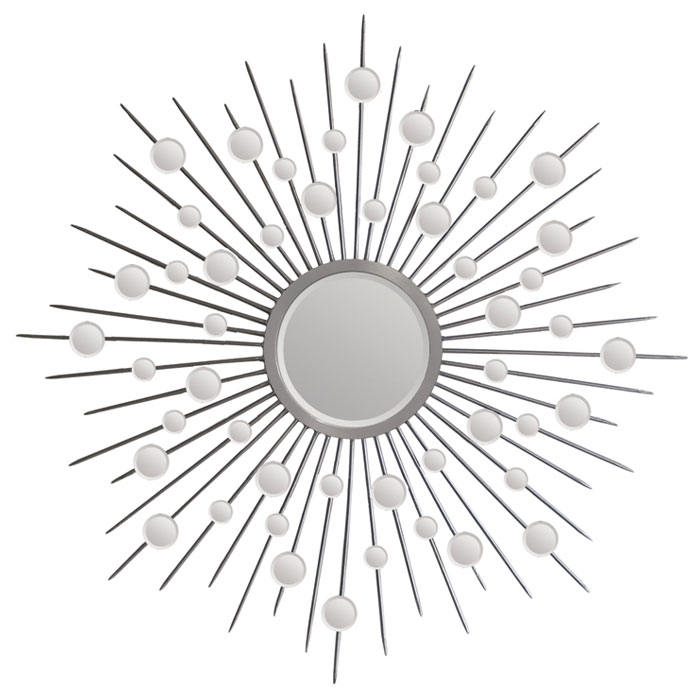 Silver Sunburst Mirror - Beveled, Round, Silver Leaf Finish