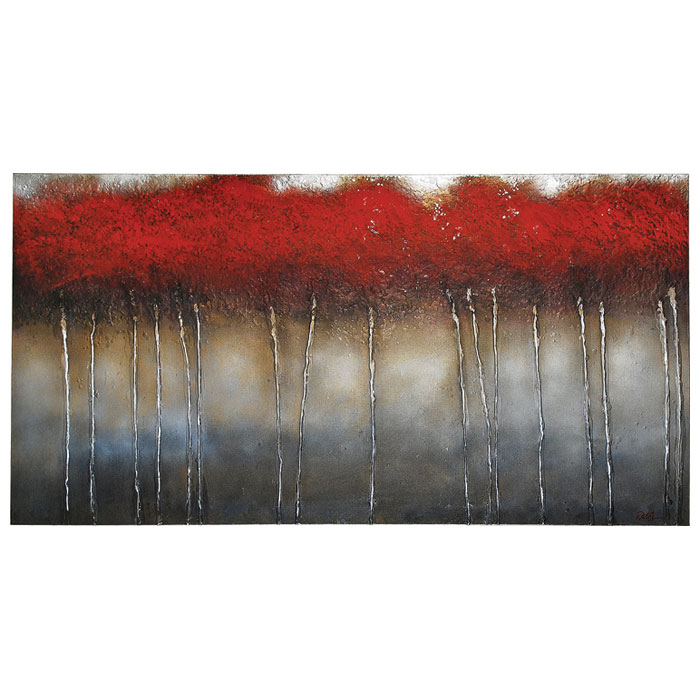 Crimson Forest Oil Painting - Rectangular Canvas