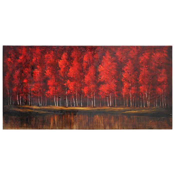 The Ruby Forest Oil Painting - High Gloss, Rectangular Canvas
