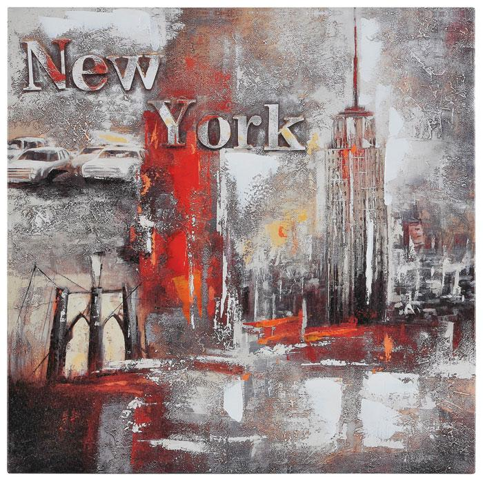 Memories of New York Oil Painting - Textured, Square Canvas