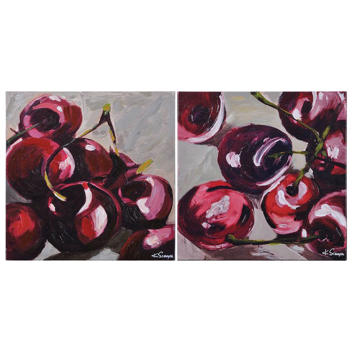 Wild Cherries 2-Piece Wall Art - Still Life, Oil Painting
