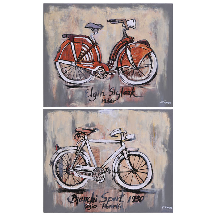 Vintage Bicycle 2-Piece Wall Art - Oil Painting