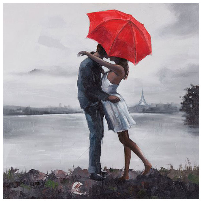 Kissing in the Rain Oil Painting - Square Canvas